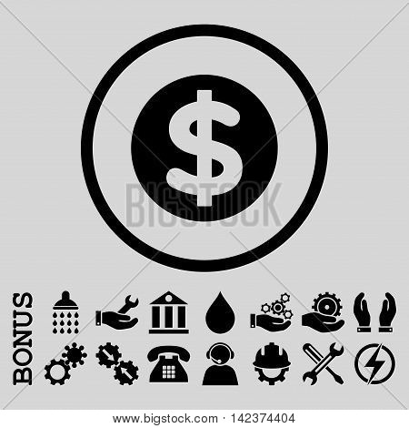 Finance vector icon. Image style is a flat pictogram symbol inside a circle, black color, light gray background. Bonus images are included.