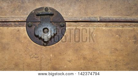 Locking clip on a Vintage treasure box with copy space