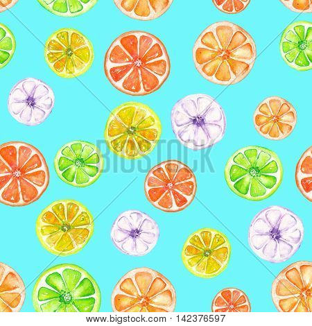 Seamless pattern with colored candied fruits painted in watercolor on a turquoise background