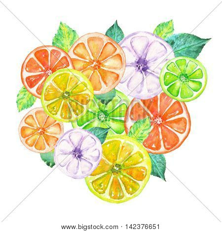 Illustration with colored candied fruits painted in watercolor on a white background