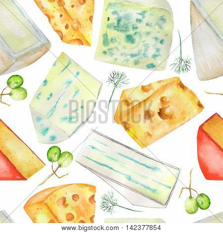 A seamless pattern with the hand-drawn hard Dutch cheeses and blue cheeses, spices and grapes. Painted in a watercolor on a white background.