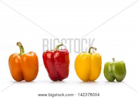 Yellow red orange and green paprika isolated on withe background.