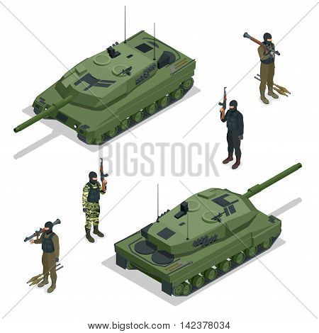 Tank american and soldiers. Vector isometric illustration. Flat 3d isometric high quality military vehicles machinery transport