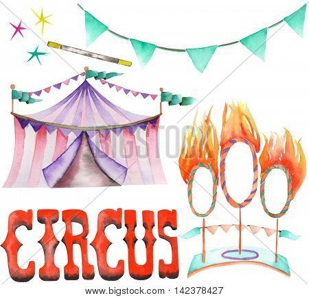 A watercolor isolated circus set with the hand drawn elements: a garland of flags, fire rings and circus tent. Painted on a white background.