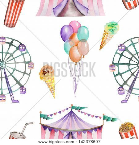 A seamless pattern with the watercolor circus hand drawn elements: air balloons, pop corn, circus tent (marquee), ice cream and  Ferris wheel. Painted on a white background.