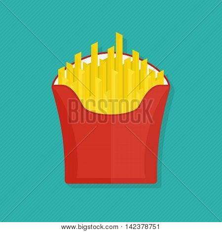 French fries icon. Vector illustration of french fries in red paper box, isolated flat design with shadow. Picture for fastfood places.