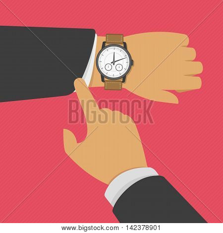Man with clock checks the time. Vector illustration of wristwatch on the hand of businessman in suit. Business concept of checking time, deadline, time limit.