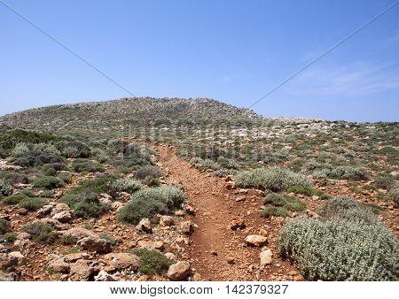 Landscape of Crete mountain near Preveli, Greece