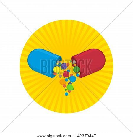 Pill icon vector. Medicine icon pills or tablets capsules in flat stule. Vector design element.