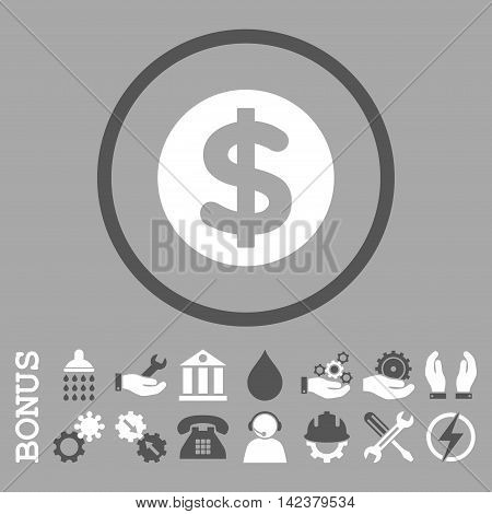Finance vector bicolor icon. Image style is a flat pictogram symbol inside a circle, dark gray and white colors, silver background. Bonus images are included.