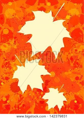 Three autumn maple leaves over bright orange artistic paint background blank frames with room for text vertical format.
