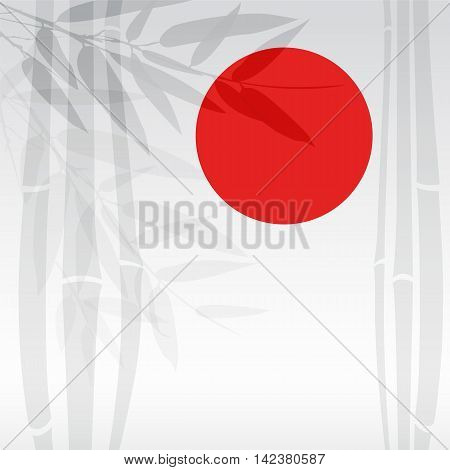 Bamboo trees and red sun on white background. Vector illustration.