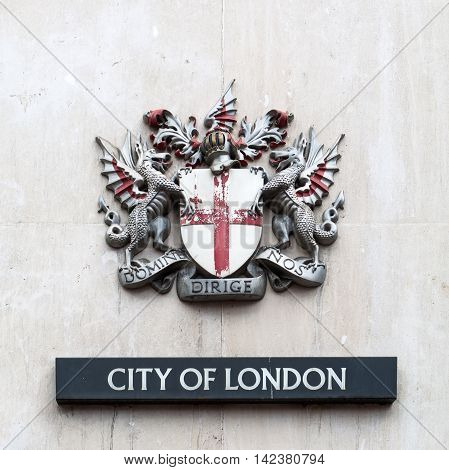 London UK - June 15 2016: coat of arms of the City of London. It is the official coat of arms of the City of London which is one of a number of cities and boroughs in Greater London.