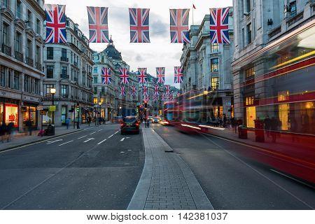 Regent Street In London, Uk, At Dusk