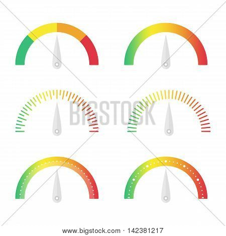 Speedometer vector set. Manometer vector illustration in flat style. Score indicator isolated set. Circular gauges icons set. Vector EPS 10.