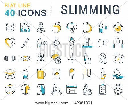 Set vector line icons in flat design Slimming Healthy Food and Diet with elements for mobile concepts and web apps. Collection modern infographic logo and pictogram.