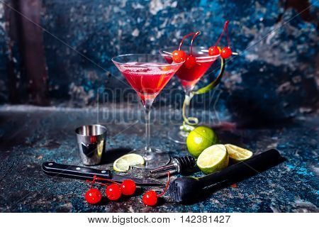 Cosmopolitan Cherry Martini Cocktail, Served Cold With Lime And Ice