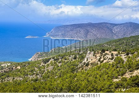 Beautiful cliff landscape of Rhodes island, Greece
