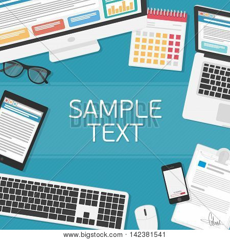 Office workplace top view. Illustration of modern business office or workspace in flat style. Top view of desk background. Template infographic or advertising banner concept.