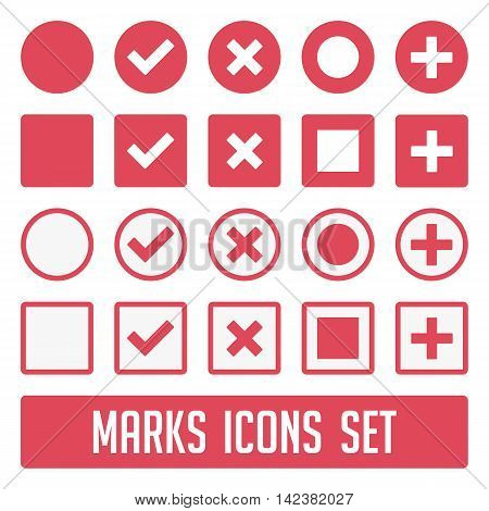 Vector check mark icons. Flat icons for web and mobile applications flat design. Large set of flat buttons check marks and crosses. Circle and square, rounded corners.