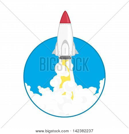Rocket flying icon flat design. Business startup launch concept illustration. Concept of new business project start-up development or launch a new product.