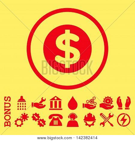 Finance vector icon. Image style is a flat pictogram symbol inside a circle, red color, yellow background. Bonus images are included.