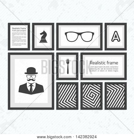 Collection of black frames. Wooden square picture frames of dark set for your web design. Abstract black picture frames on vintage background. Vector set of frames photo or text on the wall.