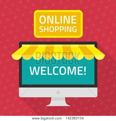 On line store. Vector illustration of online shopping and e-commerce. Online store concept in flat style. Sale, Personal Computer with awning.