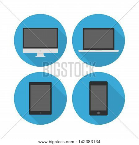 Set of flat icons electronic devices. Set of vector modern icons of computer, laptop, tablet and phone with long shadow.