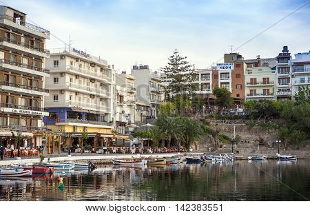 AGIOS NIKOLAOS, GREECE - MAY 2015: Sunset view - Old Town of Agios Nikolaos, Crete island, Greece, May 2015