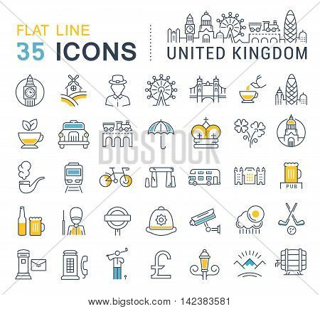 Set vector line icons in flat design United Kingdom England Ireland and Scotland with elements for mobile concepts and web apps. Collection modern infographic logo and pictogram.