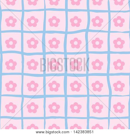 Vector seamless pink neat small flower print.