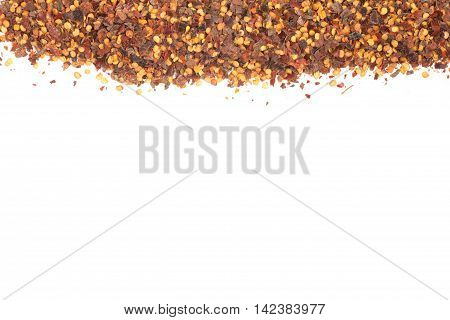 Calabrian pepper. Dry pepper frame in white background