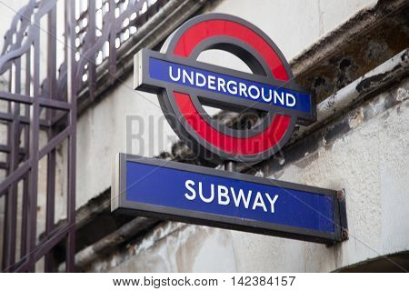 LONDON, UK - MAY 7: Underground sign in London Street on May 7, 2016 in London, UK. London is the world's most visited city and the capital of UK