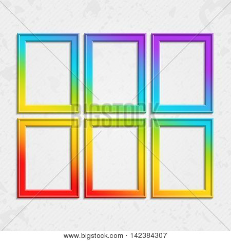 Set of colorful wooden frames. Wooden square picture frames of colorful set for your web design. Abstract colorful picture frames on vintage background. Vector set of color photo frames on the wall.