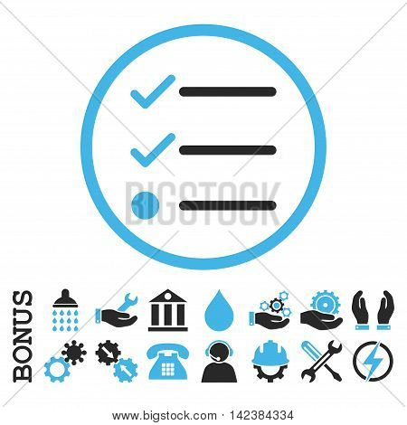 Checklist vector bicolor icon. Image style is a flat pictogram symbol inside a circle, blue and gray colors, white background. Bonus images are included.