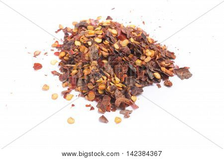 Calabrian pepper. Dry pepper into in white background. Close-up photo.