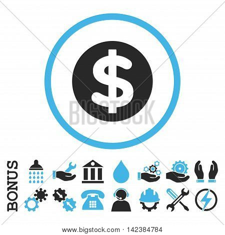 Finance vector bicolor icon. Image style is a flat pictogram symbol inside a circle, blue and gray colors, white background. Bonus images are included.