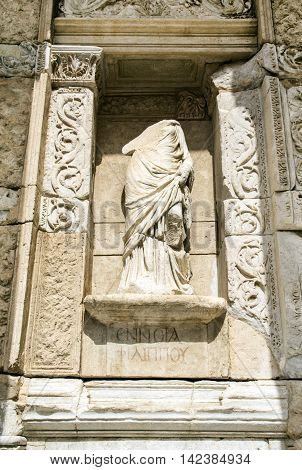 Sculpture on facade of Library of Celsus, Ephesus, Turkey
