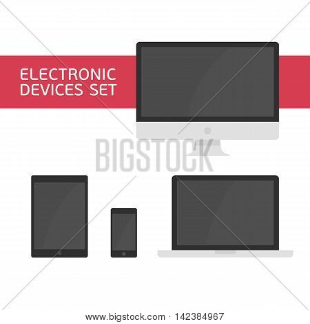 Set of vectors electronic devices. Realistic vector laptop, tablet computer, monitor and mobile phone template. Electronic Devices with Black Screens. Various modern electronic Devices icons.