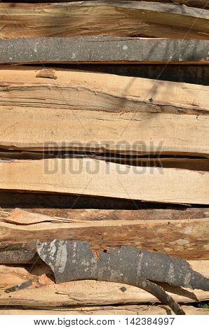 Pile of logs halves and quarters as a natural look background