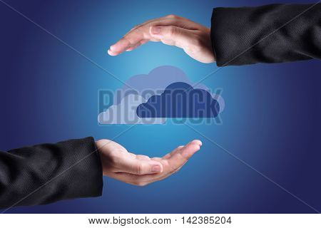 Clouds Above Hands. Cloud Computing Concept.