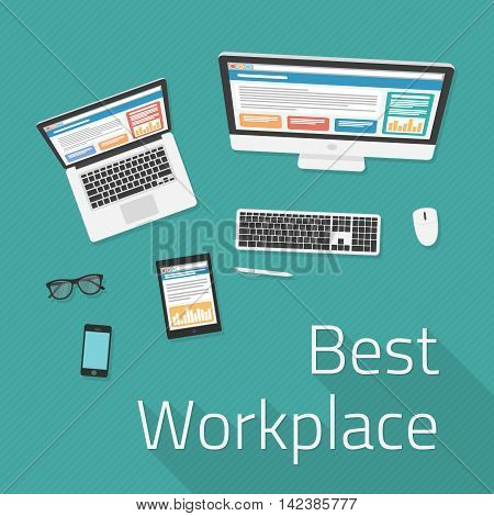 Vector work place top view. Workplace concept in flat style. Constructor of your own work space consisting of computer, smartphone, tablet, glasses and mobile phone.