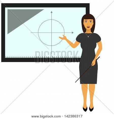 TV presenter reporter teacher at interactive blackboard