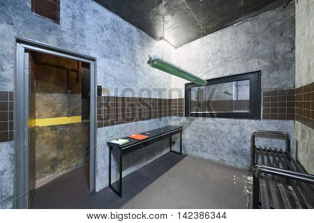 MOSCOW, RUSSIA - MAR 11, 2015: Interior of one of rooms a reality Mistikum quests studio