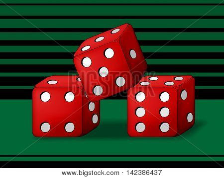 Three play dice on green playing screen.