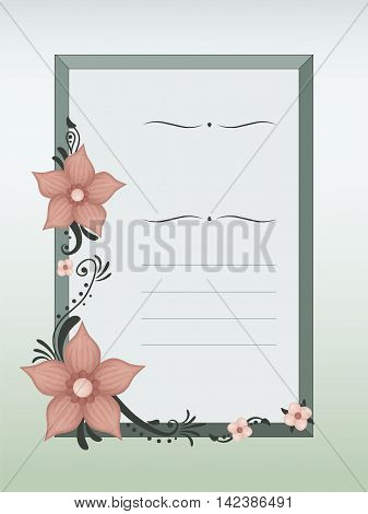Frame with decent green and pink flower illustrations.