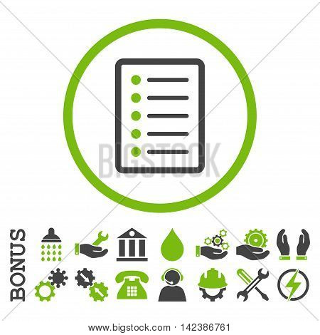 List Page vector bicolor icon. Image style is a flat pictogram symbol inside a circle, eco green and gray colors, white background. Bonus images are included.