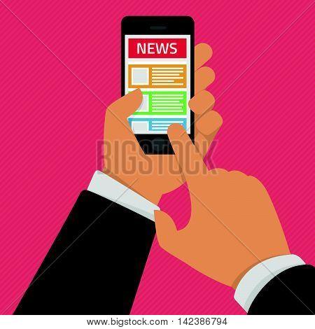 Vector illustration of news app on smartphone screen. Online reading news on smartphone. Modern concept for web banners, web sites or infographics. Creative flat design. Online digital media concept.