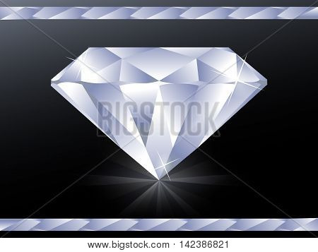 Illustration with big diamond on black surface with reflection and glitters